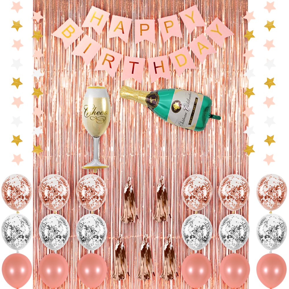 Amazon CUEA Rose Gold Birthday Party Decorations Supplies Champagne Balloon Set Pink Happy Banner Metallic Foil Fringe