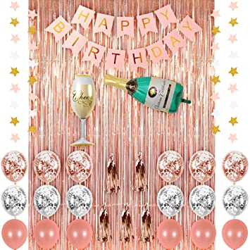 graphic about Printable Party Decorations called CUEA Rose Gold Birthday Occasion Decorations Products, Champagne Balloon Bash Fixed, Crimson Pleased Birthday Banner, Rose Gold Metal Foil Fringe Bright
