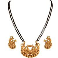 EBA All Traditional and Ethnic Wati 1 g Gold Plated Copper Yellow Mangalsutra with Black Bead 24 Inches Chain for Women