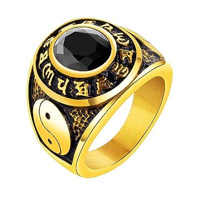 b4b662db4b34c INRENG Men's Stainless Steel Mantra Ring Oval Stone Taoism Yin Yang ...