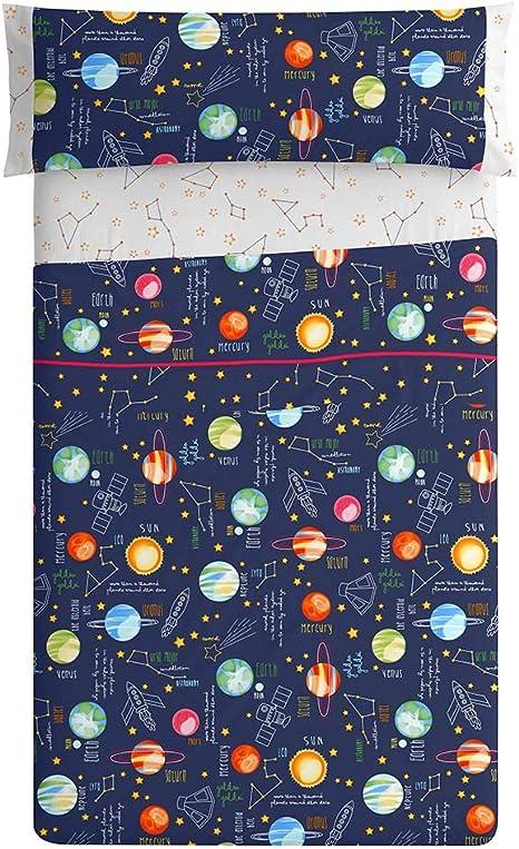 Burrito Blanco 160 Juego de Sábanas de 90 Infantiles con Un diseño de Estampado de Planetas/Juego de Sábanas Infantiles para Cama Individual de 90x190 hasta 90x200cm, Naranjas y Azul Oscuro: Amazon.es: Hogar
