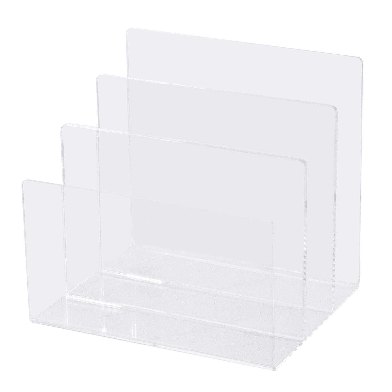 Combination of Life 3 Sections Acrylic Letter Mail Document Organizer Desktop File Sorter Makeup Palette Organizer 8Wx 6.6Dx7.5H Clear