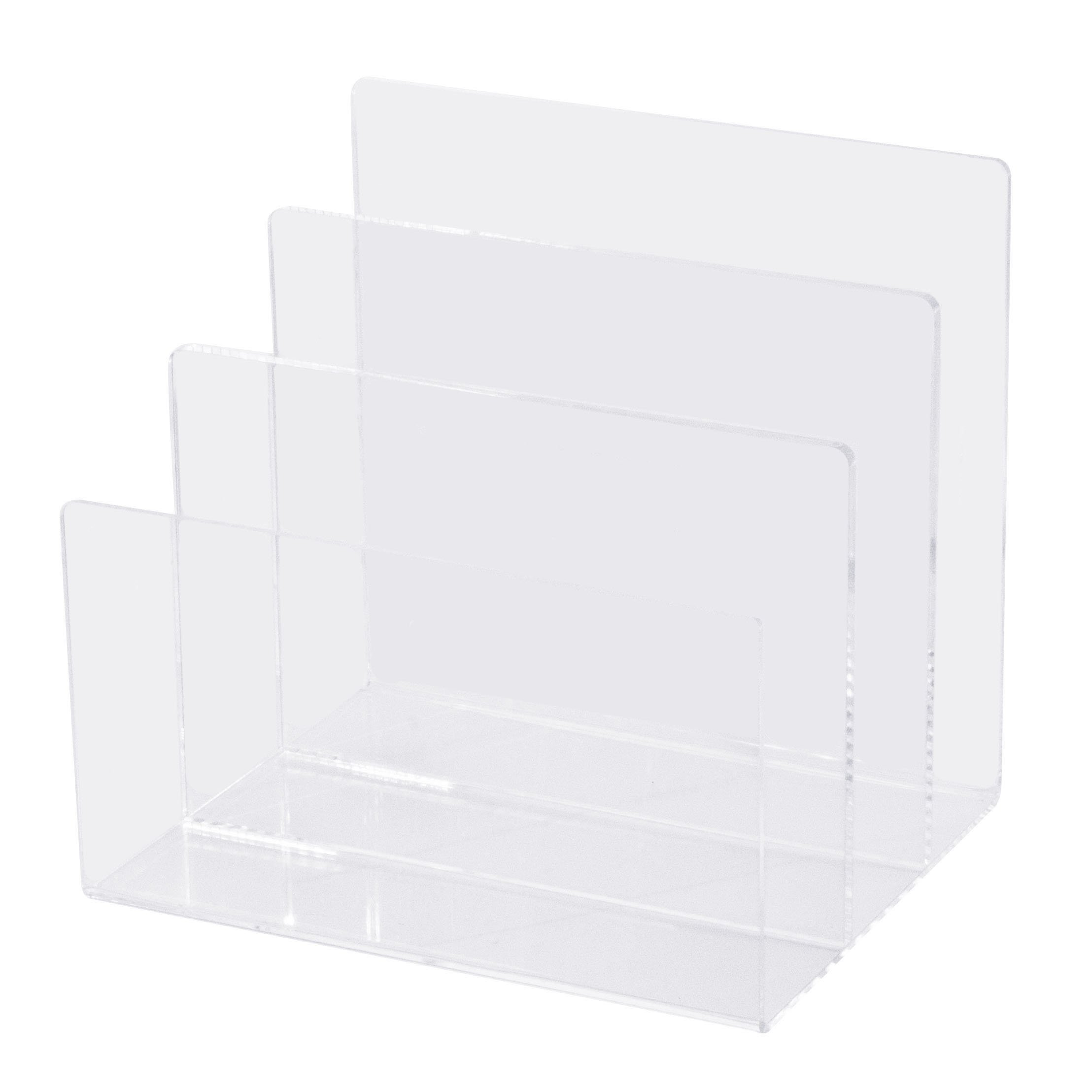 Combination of Life 3 Sections Acrylic Letter Mail Document Organizer Desktop File Sorter Makeup Palette Organizer 8''Wx 6.6''Dx7.5''H Clear