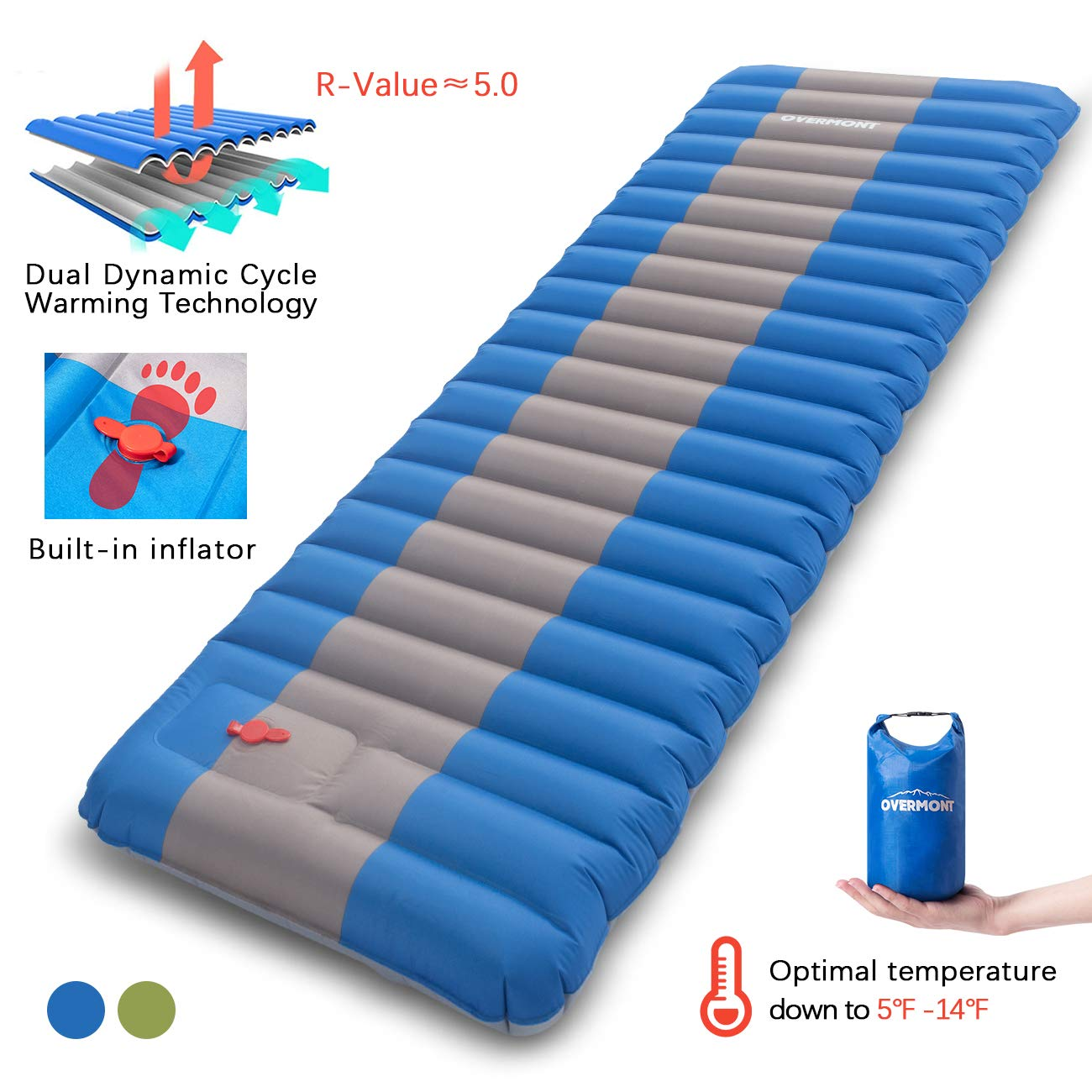 Overmont Sleeping Pad Inflatable Extra Thickness Camping Tent Mattress Pad Waterproof for Sleeping Comfortable Compact Air Mat for Backpacking Travel Hiking Built in Pump by Overmont