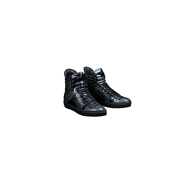 13adcf0e90d4 Plus Footwear Basket Montante Homme en Cuir Bleu Imprimé Croco  Amazon.fr   Chaussures et Sacs