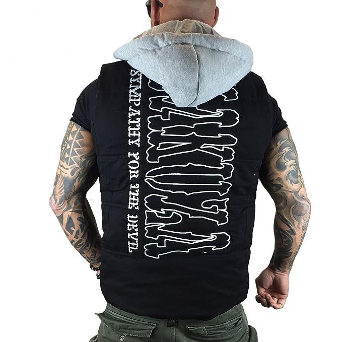 Yakuza - Chaqueta - chaqueta guateada - Básico - cuello congregado - Sin mangas - para hombre negro XXXXXX-Large: Amazon.es: Ropa y accesorios