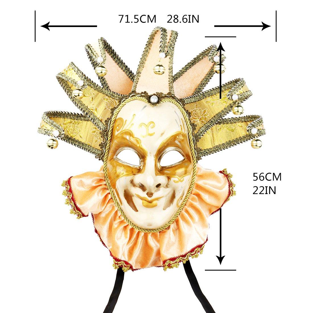 Amazon.com: Smiling Gold Jester Jolly Veneice Joker Mask Venetian ...