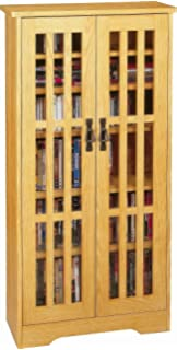 Leslie Dame M 371 High Capacity Inlaid Glass Mission Style Multimedia  Storage Cabinet,