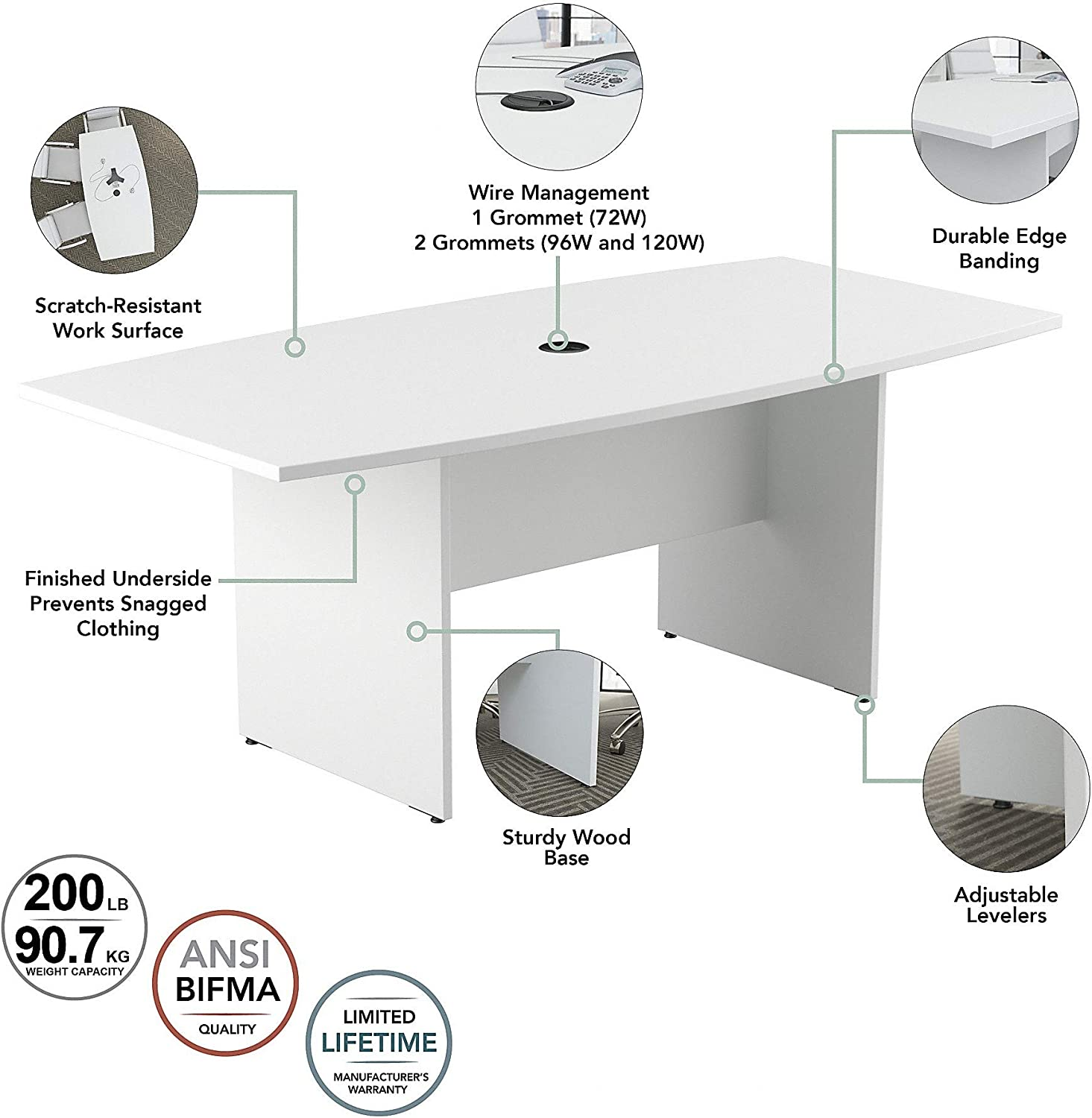 Bush Furniture Bush Business Furniture 72W x 36D Boat Shaped Conference Table with Wood Base in White