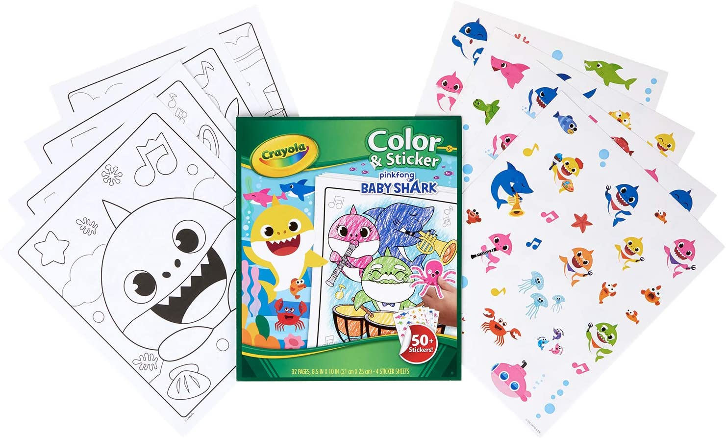 Amazon.com: Crayola Baby Shark Coloring Pages & Stickers, Gift for Kids,  Ages 3, 4, 5, 6: Toys & Games