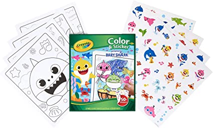Amazon Com Crayola Baby Shark Coloring Pages And Stickers Gift For Kids Ages 3 4 5 6 Toys Games