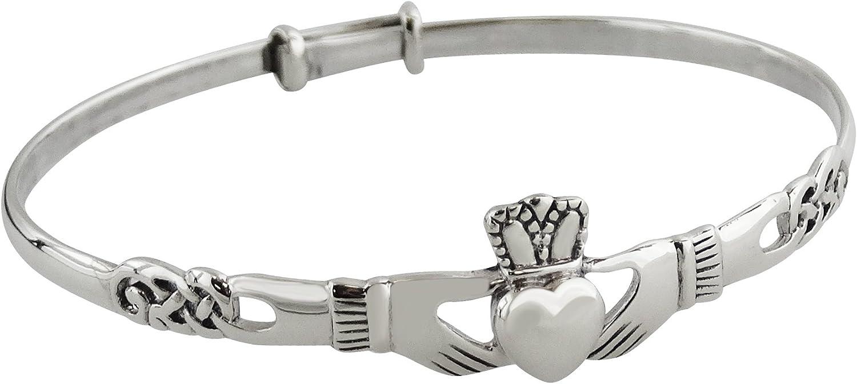 Sterling Silver Irish Claddagh Celtic Knot Bangle Bracelet