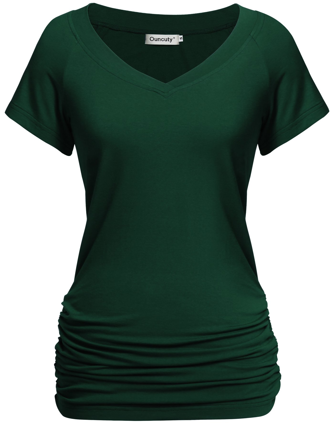 Ouncuty Women Summer Blouses, Plus Size Rayon Classic Ruched Front Shirts Casual Short Sleeve Tunic Zulily Loose Fit and Flare A Line Elegant Blouses Stylish Draped Plain Business Top Green Large