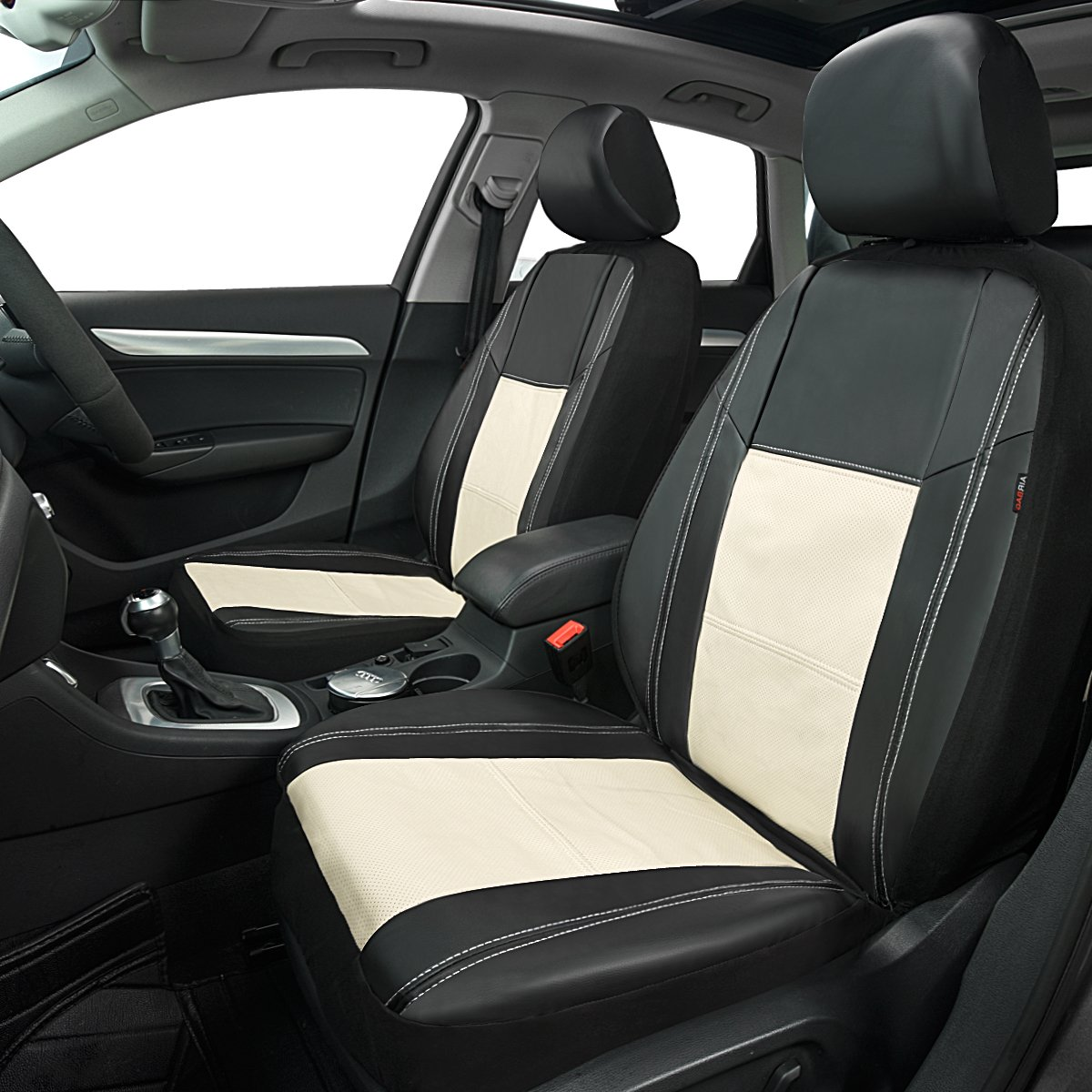 CAR PASS Skyline Pu Leather Car Seat Cover-Universal Fit for Cars,Suv,Vehicles 5mm Composite Sponge Inside,Airbag Compatible Red, 6pc