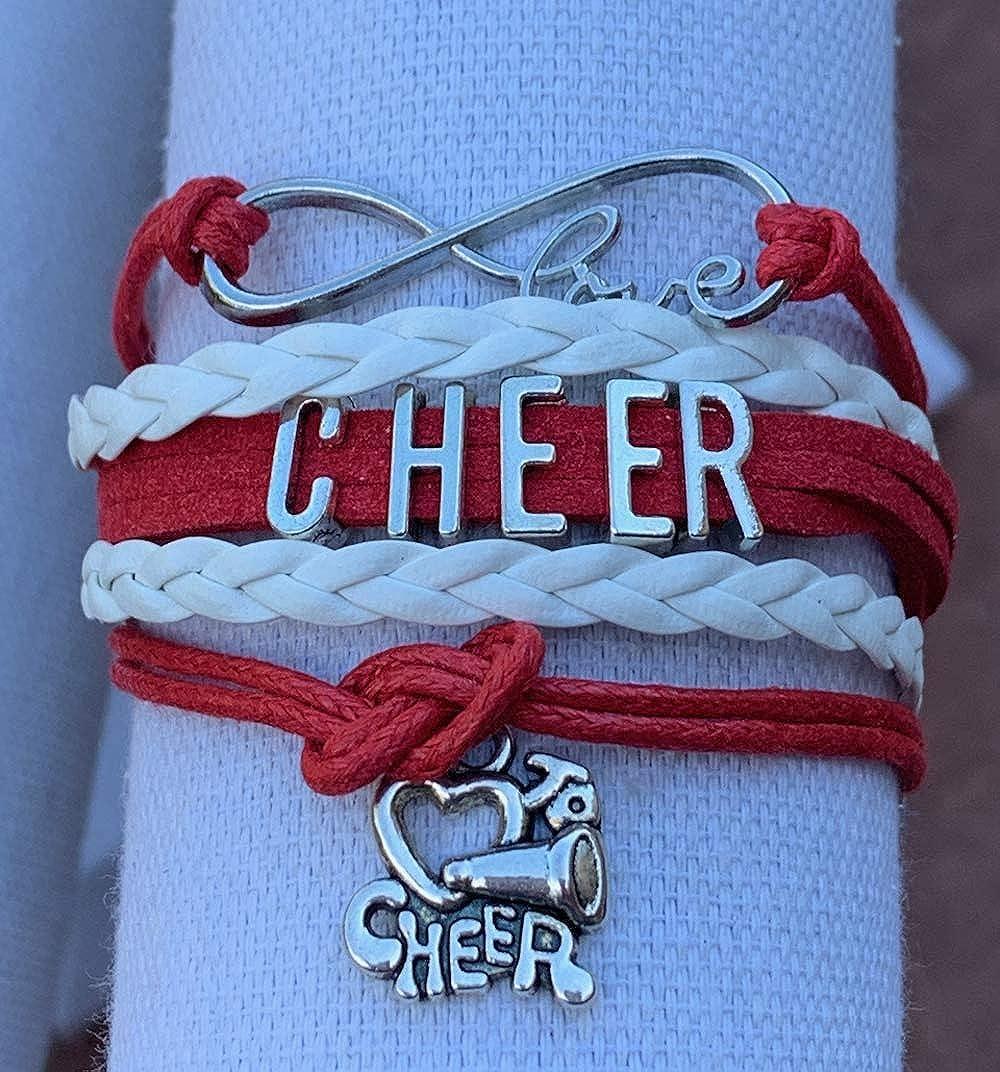 Cheerleading Charm Infinity Bracelet Cheer Team or Team Cheer Bracelet Cheer Jewelry for Cheerleader