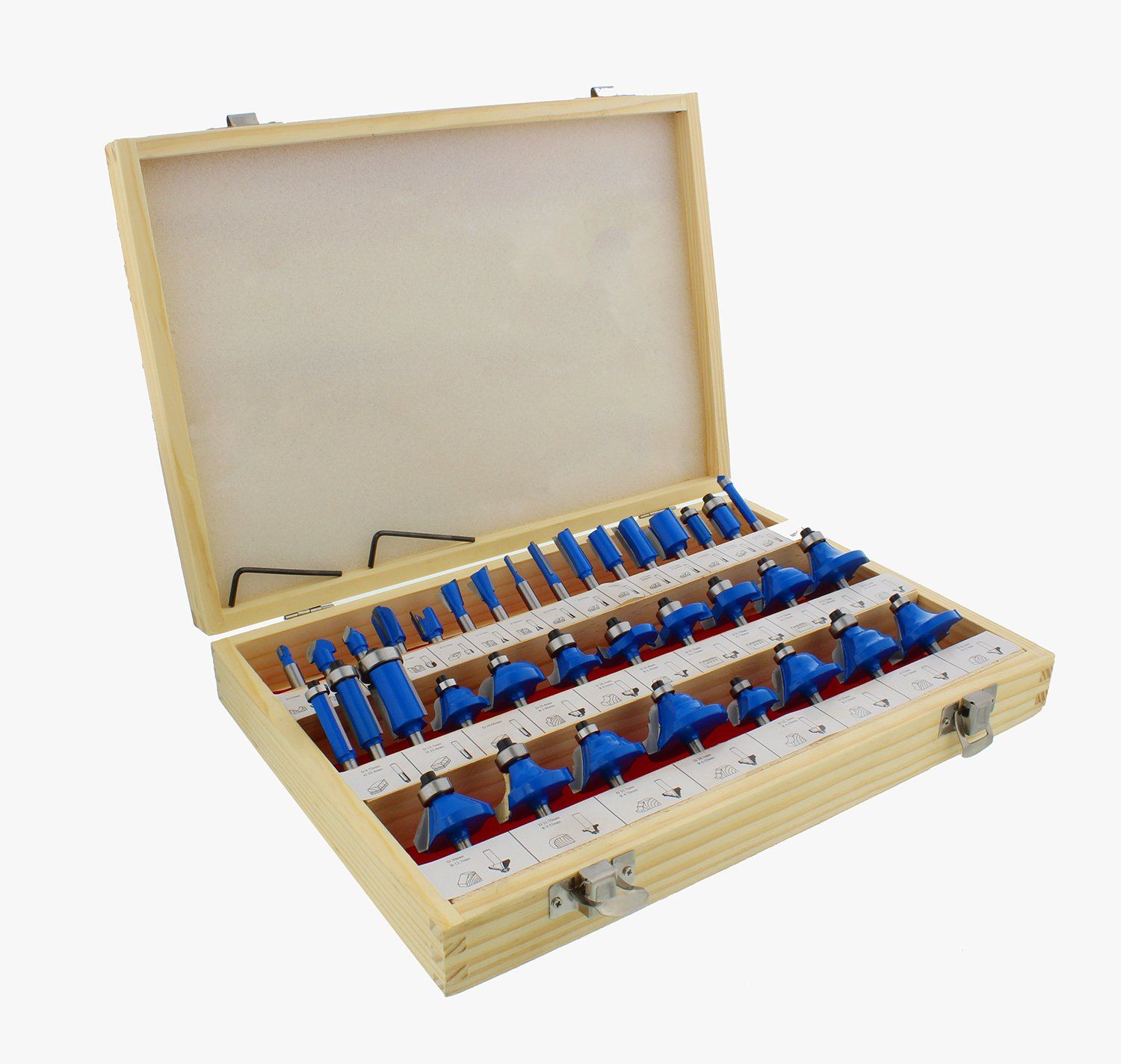 ABN Tungsten Carbide Router Bit 35-Piece Set, 1/4'' Inch Shank – Woodworking Routing Drill Bits Kit with Carrying Case