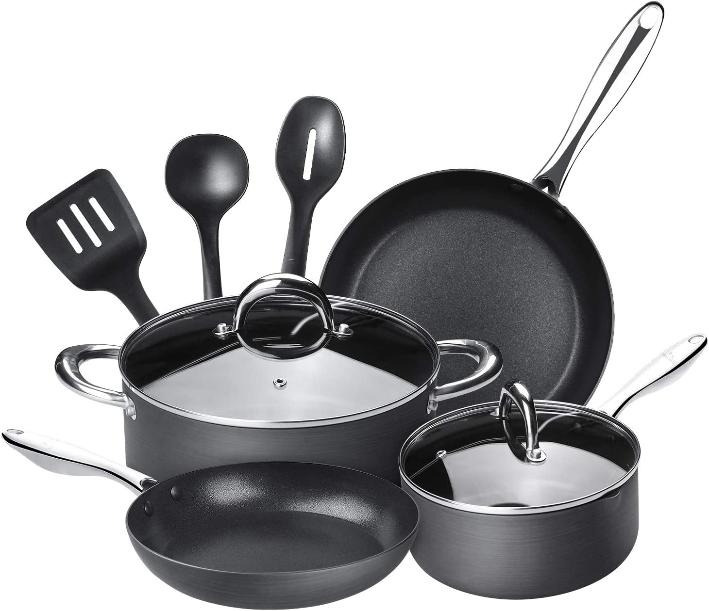 9pcs Hard Anodized Cookware Set Nonstick Pots