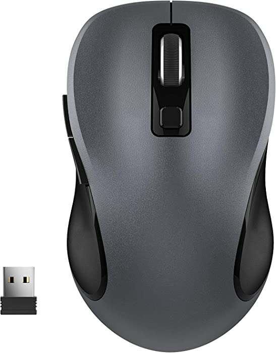 Computer Wireless Mouse, WISFOX Wireless Ergonomic Mouse 2.4G Portable Mobile Mouse Optical Mice with Nano Receiver, 3 Adjustable DPI Levels, 6 Buttons for Laptop, Notebook, PC (Grey)