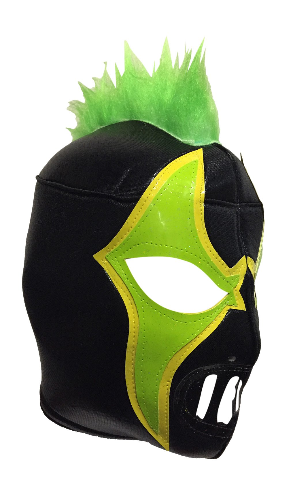 CRAZY CLOWN Adult Lucha Libre Wrestling Mask (pro-fit) Costume Wear - Black/Green by Mask Maniac