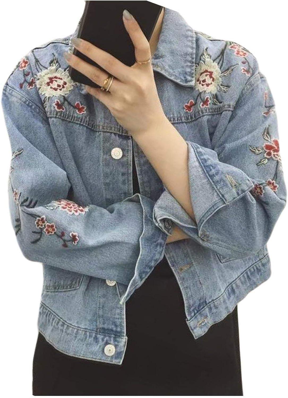 Vaqueras Jacket Mujer Bonita Outerwear Fiesta Estilo Primavera Otoño Cazadoras Manga Larga Bordadas De Flores De Solapa con Bolsillos Un Solo Pecho Abrigos Chaqueta Niña