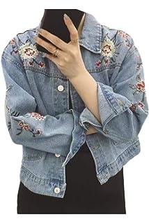 Jeansjacke Damen Hübsch Trendigen Hipster Outerwear Perfect Frühling Herbst  Jacket Langarm Embroided Revers Mit Taschen Einreihig 9f33250411