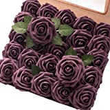 Floroom Artificial Flowers 50pcs Real Looking Plum Fake Roses with Stems for DIY Wedding Bouquets Bridal Shower…