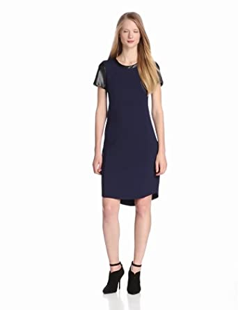DKNYC Women's Short Sleeve Dress with Faux Leather Sleeves Neck Trim and Curved Hem, Majestic Blue, 0