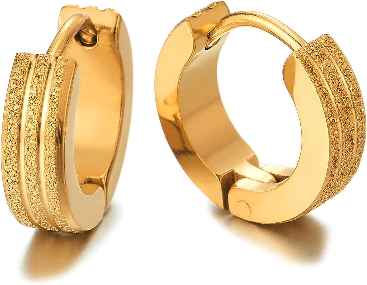 2 Oro Acanalados Rayas Pendientes del Aro, Pendientes para Hombres ...