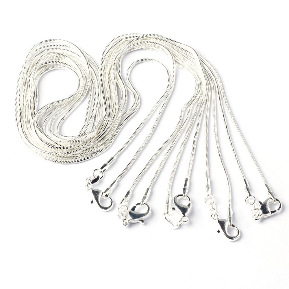BODYA 5PCS 20 Inch Silver Plated 1.2mm Snake Sparkle Chain Necklace All Sizes JW1070X5