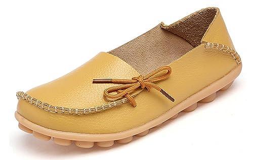 Mujer Mocasines de Cuero Moda Loafers Casual Zapatos de Conducción Cómodos Zapatillas del Barco: Amazon.es: Zapatos y complementos
