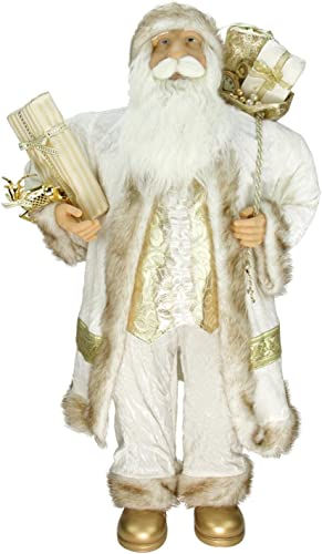 Northlight 36 Glorious Winter White and Ivory Standing Santa Claus Christmas Figure with Gift Bag