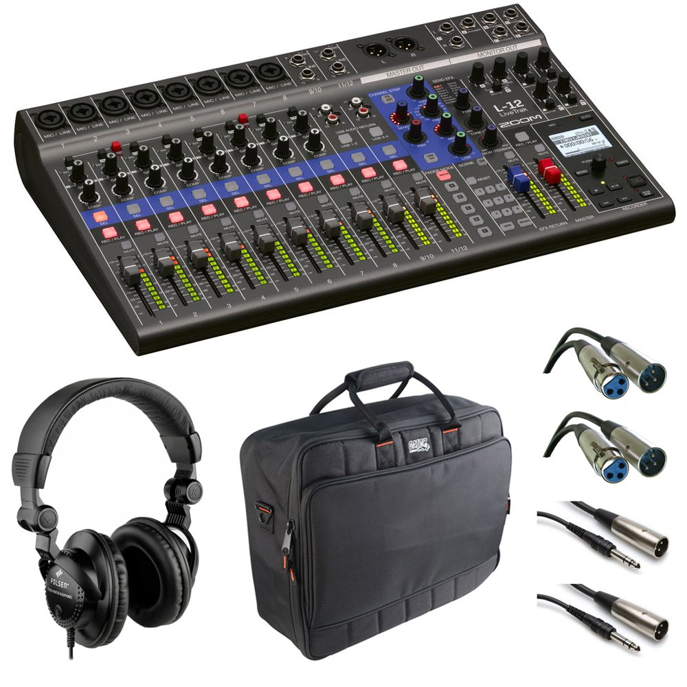 Zoom LiveTrak L-12 - 12-Channel Digital Mixer & Multitrack Recorder with Case + Cables and Headphone