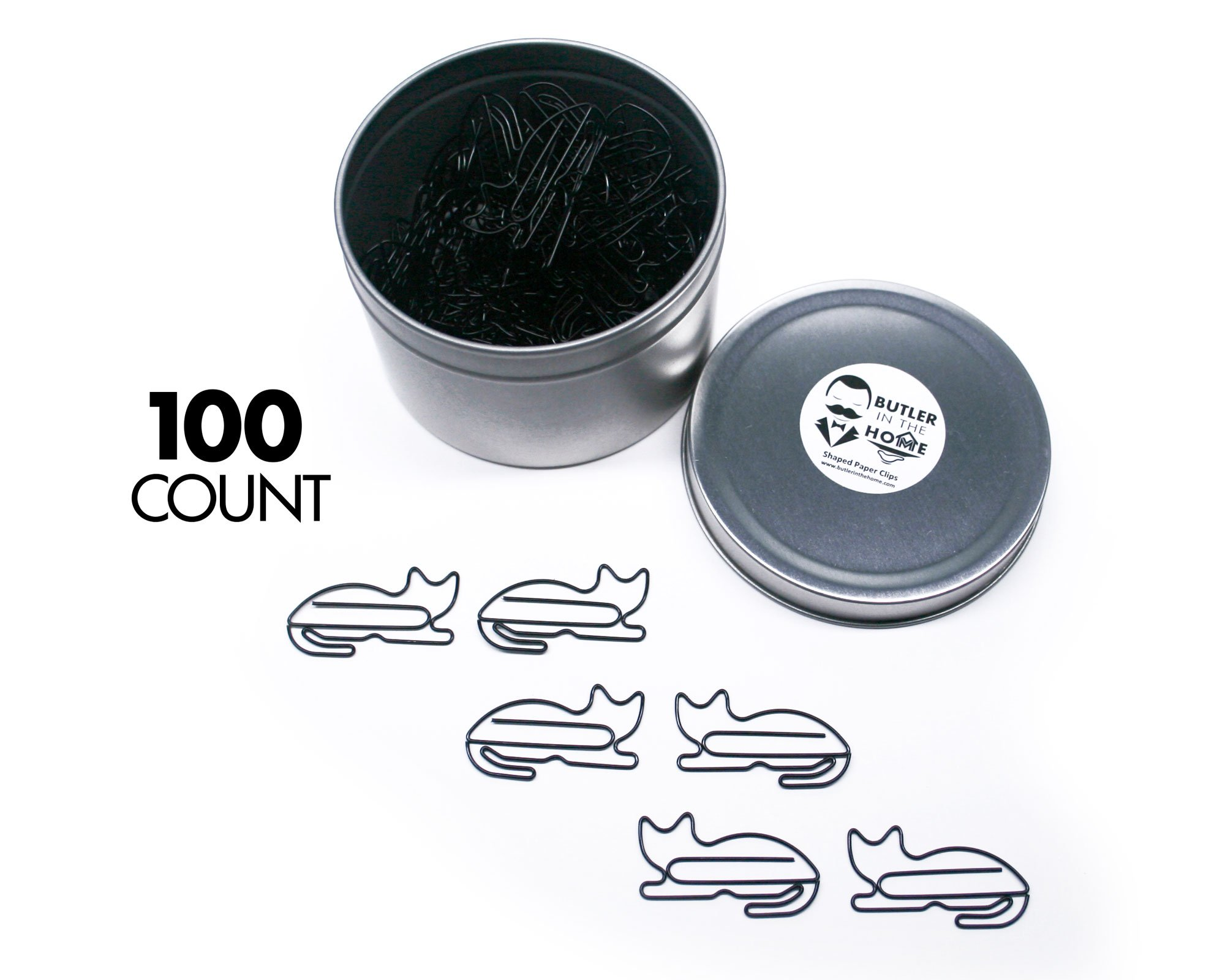 Butler in the Home Animal Cat Shaped Paper Clips in Silver Tin and Gift Box Great For Paper Clip Collectors or Animal Lovers (Black 100 Count)