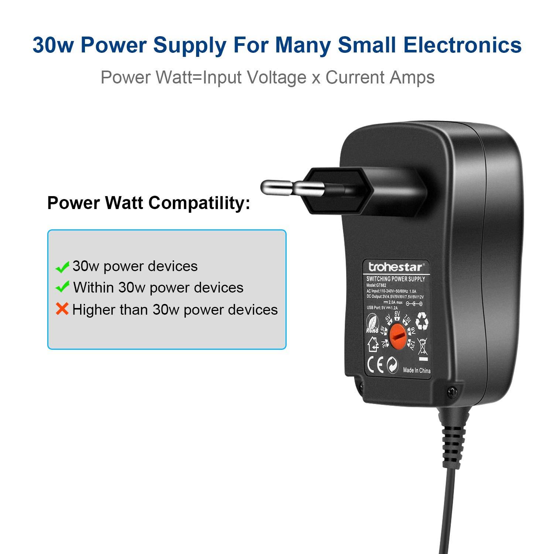 Trohestar Universal Conector de fuente 3V 4.5V 5V 6V 7.5V 9V 12V ...