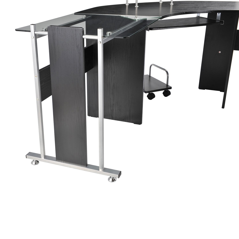 Amazon HomCom 69 Modern L Shaped Symmetrical Smoked Glasstop Office Computer Desk Kitchen Dining