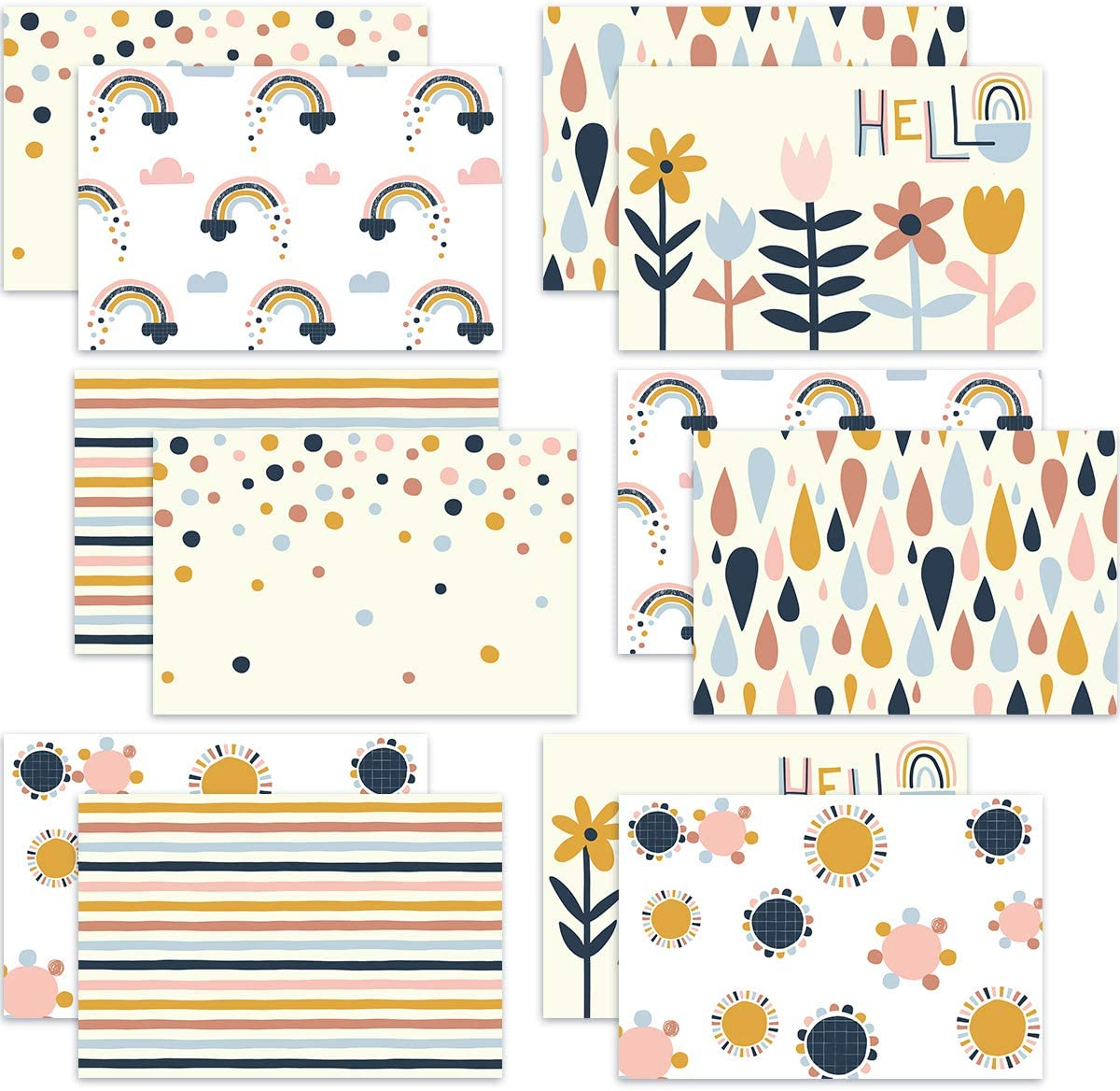 36 BOHO Greeting Card with Envelopes Stickers All Occasion Blank Note Cards office School Home