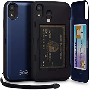 TORU CX PRO Compatible with iPhone Xr Wallet Case - Protective Dual Layer with Hidden Card Holder, ID Slot Hard Cover, Strap, Mirror & Lightning Adapter - Navy Blue