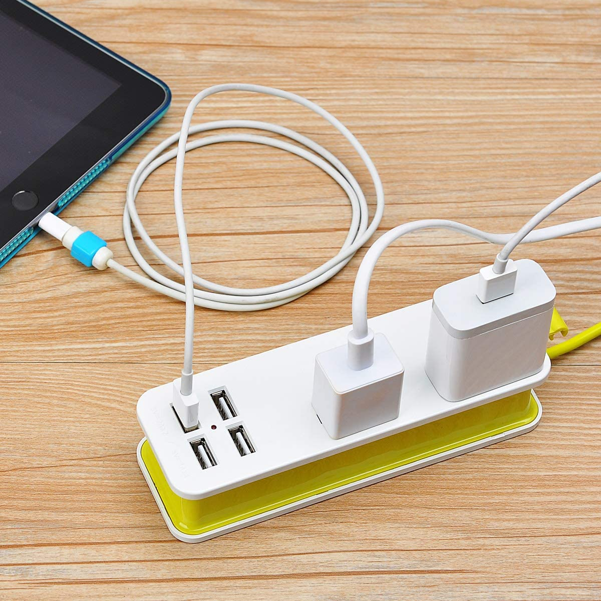 Universal Portable Travel Power Strip Surge Protector - 3 Way Outlets 4 USB Ports 1.6m Extension cord for Office/Home/Hotels/Nightstand