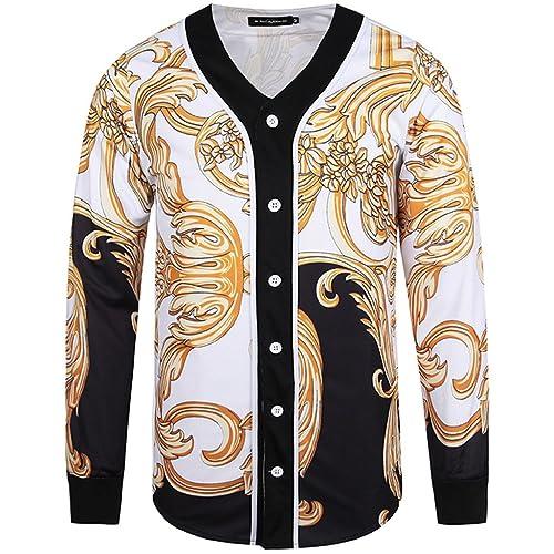 PIZOFF Unisex Long Sleeve 3D Print Baseball Team Jersey Shirt Y1775
