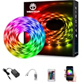 WenTop LED Strip Lights Kit SMD 5050 16.4 Ft (5M) RGB WiFi Wireless Smart Phone Controlled Strips Light Works with Android an