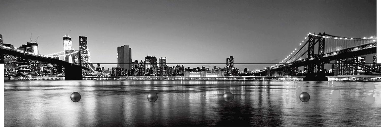 Artland Qualitätsmöbel I Garderobe mit mit mit Motiv Holz-Paneele mit 4 Haken 90 x 30 cm Städte Amerika Newyork Foto Schwarz Weiß D8OF New York City Skyline Panorama mit Brooklyn Bridge und Wolkenkratzern c58718