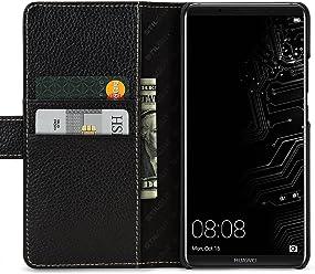 StilGut Talis, Housse Huawei Mate 10 Pro avec Porte-Cartes en Cuir véritable. Etui Portefeuille à Ouverture latérale et Languette magnétique pour pour Huawei Mate 10 Pro, Noir