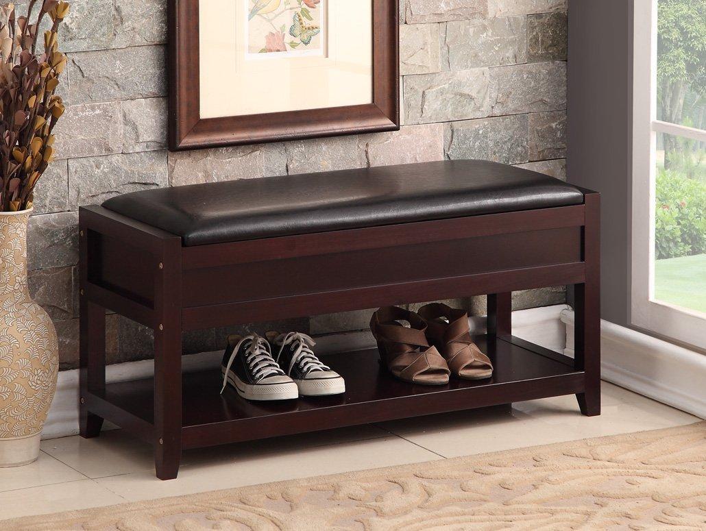 Espresso Bonded Leather Entryway shoes Bench Shelf Storage Organizer
