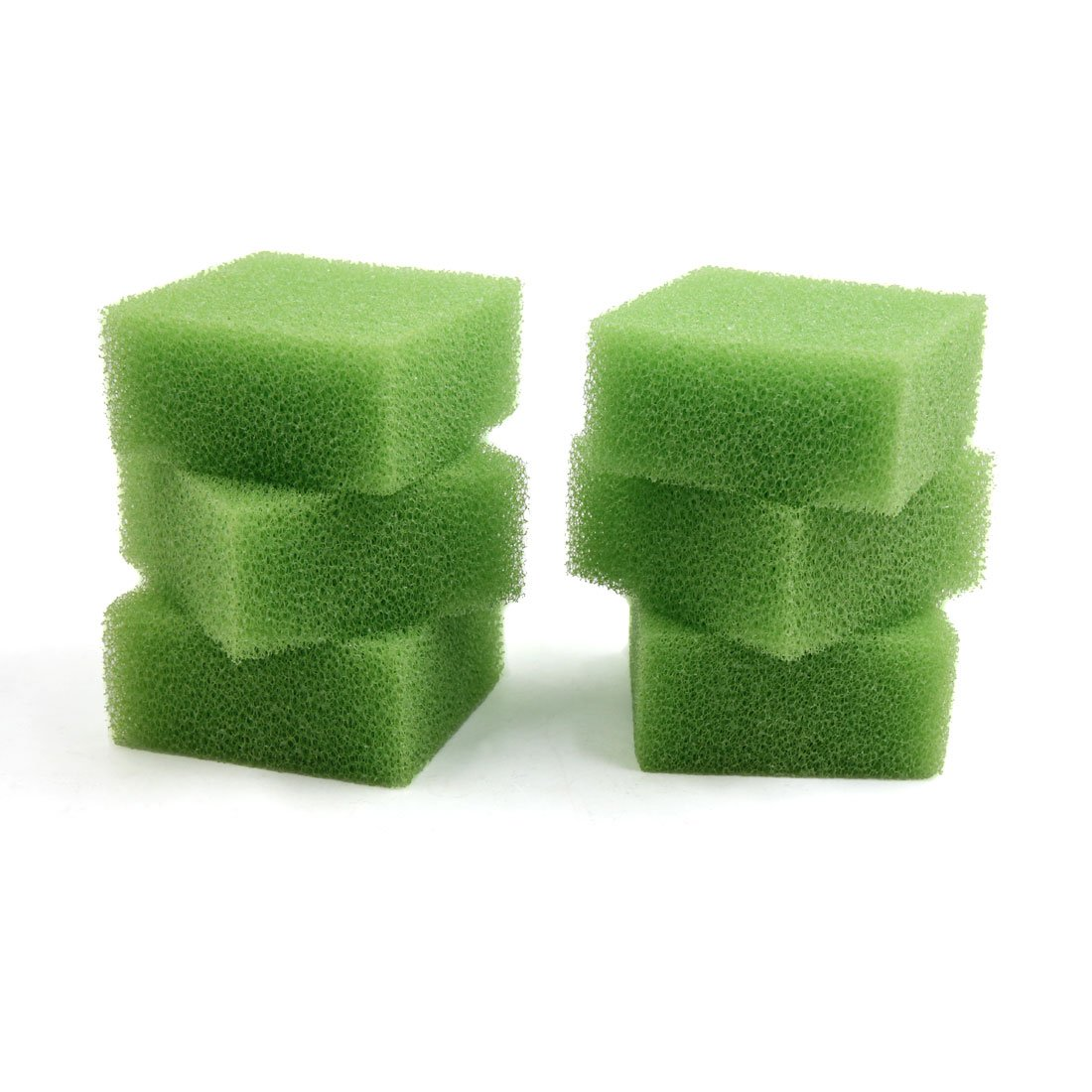 Uxcell 6 Pcs 3.74x3.74x1.77 inch Green Filter Cartridge Sponge Replacement for Aquarium