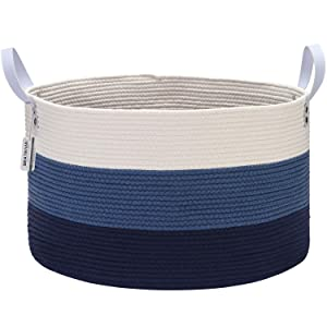 Sea Team Extra Large Size Cotton Rope Woven Storage Basket with Handles, Laundry Hamper, Trunk Organizer, Clothes Toys Bin for Kid's Room, 22 x 13 inches, Round Open Design, Off White & Navy Blue