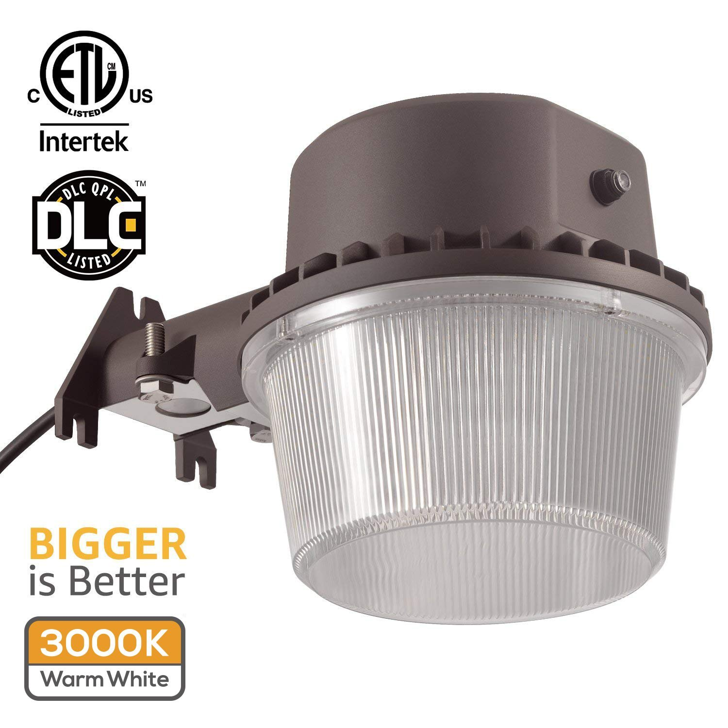 TORCHSTAR Dusk-to-dawn LED Outdoor Barn Light (Photocell Included), 35W (250W Equiv.), 3000K Warm White Floodlight, DLC & ETL-listed Yard Light for Area Lighting, 5-year Warranty, Bronze by TORCHSTAR