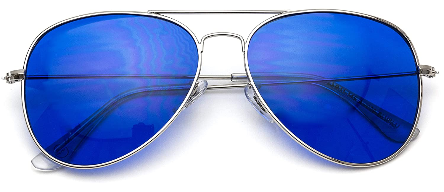 dd51dd62657 Amazon.com  Classic Aviator Style Metal Frame Sunglasses Colored Lens (Dark  Blue