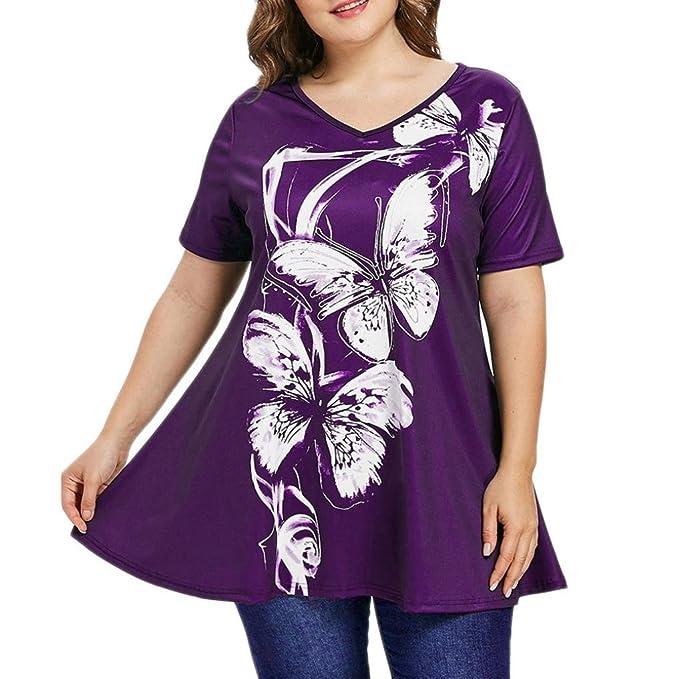 4211f28c5b2e Große Größe Oberteile Mode Damen Huihong Kurzarm Schmetterling Druck V  Ausschnitt Tops Bluse T Shirt (