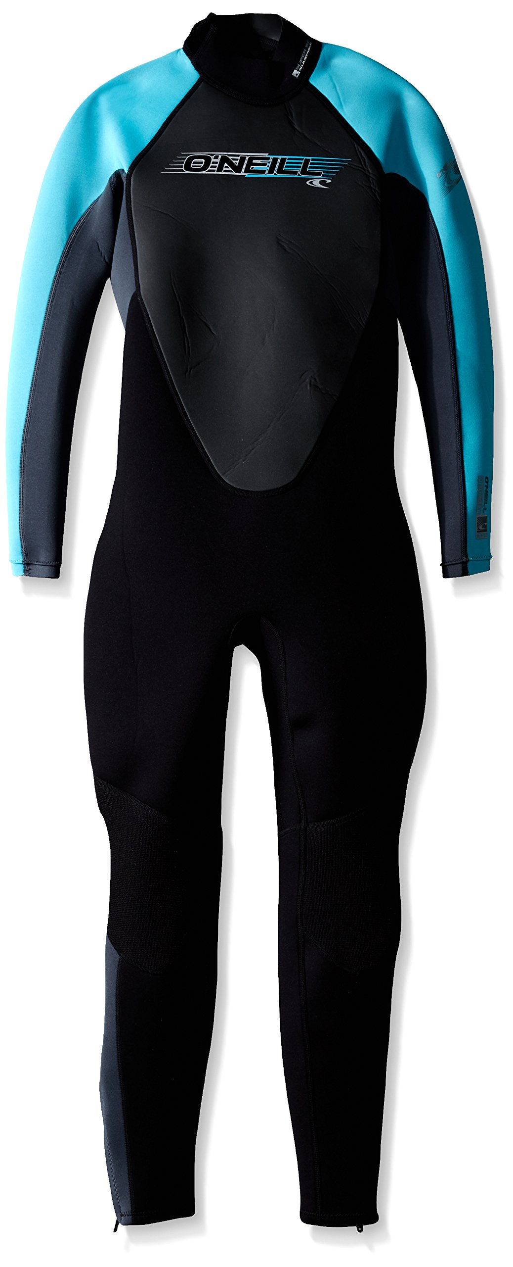 O'Neill Youth Reactor 3/2mm Back Zip Full Wetsuit, Black/Graphite/Turquoise, 14
