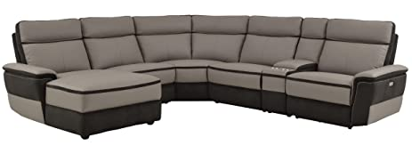 Homelegance Laertes 6 Piece Power Reclining Sectional Sofa with Left Side Chaise and Cup Holder Console  sc 1 st  Amazon.com : reclining sectional with cup holders - Sectionals, Sofas & Couches